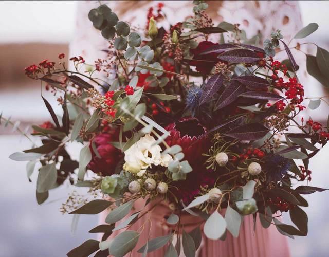 Boho Brautstrauß mit Eukalyptus