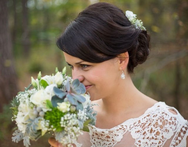 romantischer Brautstrauß mit Sukkulenten